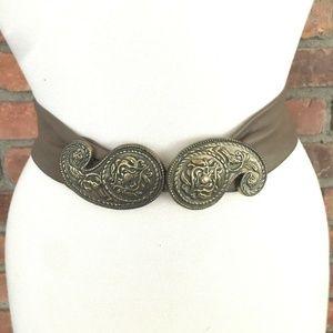 Vintage Leather Brown Belt Women Paisley Bird